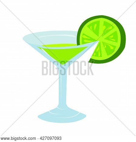 Cocktail, Martini In A Glass, Garnished With A Slice Of Lime. Vector Stock Illustration Isolated On