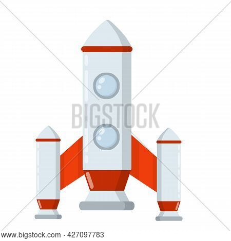 Rocket. Spaceship With Porthole. Flight Into Space. Scientific Discovery And Colonization Of Planets