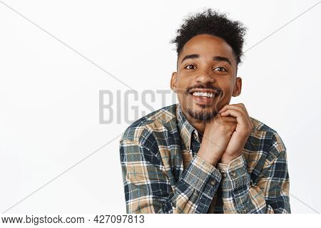So Moving. Close Up Of Cute African American Guy With Moustache, Contemplate Smth Beautiful, Smiling