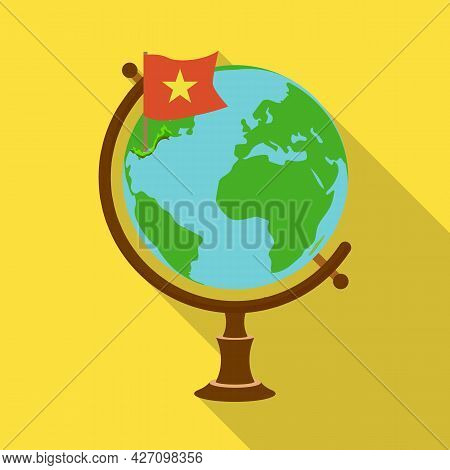 Vector Illustration Of Globe And Map Sign. Set Of Globe And Vietnam Vector Icon For Stock.