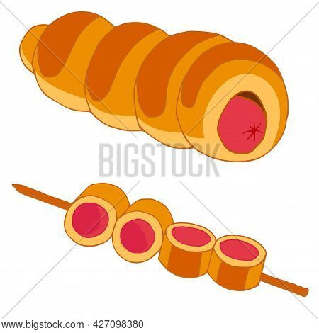 Sausage In Dough And On A Skewer In A Cartoon Style. Vector Stock Illustration Isolated On White Bac