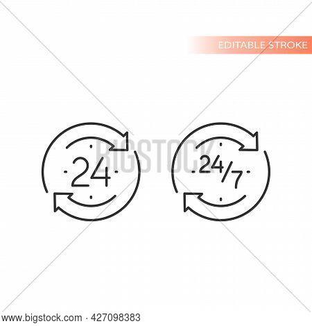 24 Hour Nonstop Clock Arrow Non Stop Icon Circle Loop.eps
