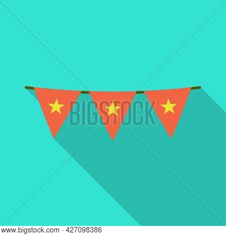 Vector Design Of Flag And Red Logo. Set Of Flag And Vietnamese Stock Symbol For Web.