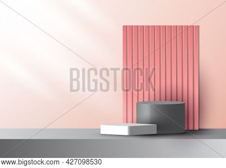 3d Realistic Pink And Gray Color Geometric Platform And Battens Backdrop With Side Lighting Mockup M