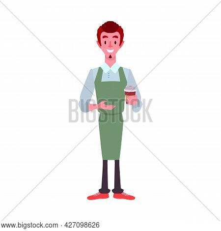 Vector Illustration Of Waiter And Coffee Logo. Graphic Of Waiter And Cup Vector Icon For Stock.