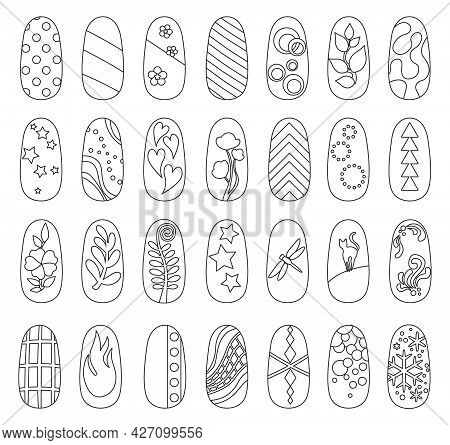 Design Nail Isolated Outline Set Icon. Vector Outline Set Icon Manicure Fingernail. Vector Illustrat
