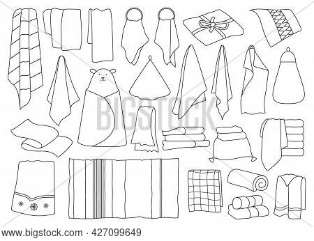 Kitchen Towel Vector Outline Set Icon. Vector Illustration Textile Roll On White Background. Isolate