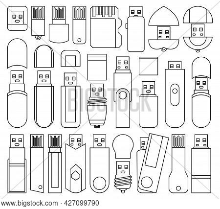 Flash Drives Isolated Outline Set Icon. Vector Outline Set Icon Usb. Vector Illustration Flash Drive