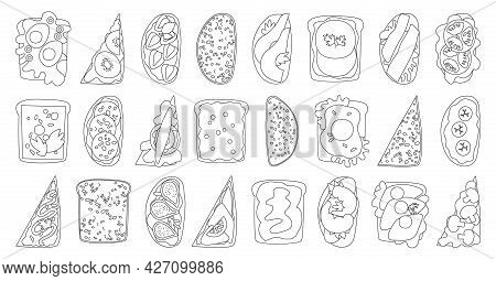 Bread Toast Vector Illustration On White Background. Isolated Vector Outline Set Icon Sandwich. Outl