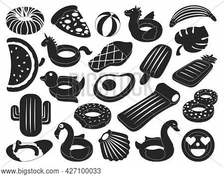 Water Mattress Vector Black Set Icon. Vector Illustration Inflatable Swimming Equipment On White Bac