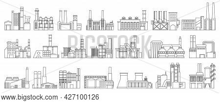 Industry Factory Isolated Outline Set Icon. Vector Outline Set Icon Manufacturing Of Building. Vecto