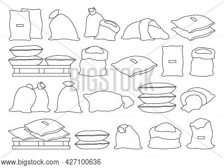 Farmer Bag Vector Illustration On White Background. Isolated Outline Set Icon Grain Sack .vector Out