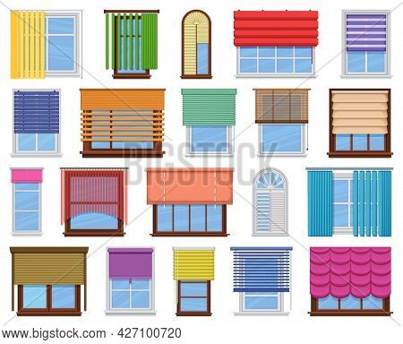 Window Blind Vector Cartoon Icon Set . Collection Vector Illustration On Jalousie House White Backgr