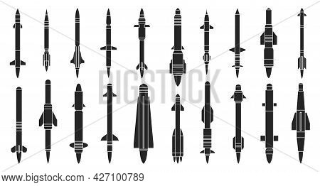 Ballistic Missile Vector Black Set Icon. Vector Illustration Military Rocket On White Background . I