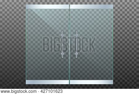 Realistic Transparent Double Glass Door Isolated On Transparent Background. Mockup Template Design F