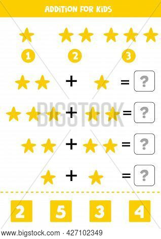 Addition With Yellow Starfish. Educational Math Game For Kids.