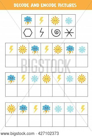 Decode And Encode Pictures. Logical Game With Weather Elements.