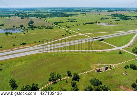 Aerial View Panorama Of Original The Historic Route 66 Road Near Oil Pump In The Countryside Across