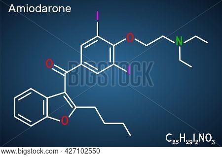 Amiodarone Molecule. It Is Antiarrhythmic, Vasodilatory, Cardiovascular Drug. Structural Chemical Fo