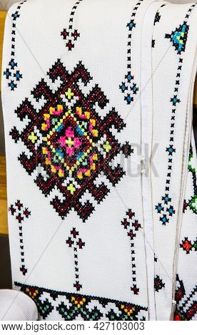 Cross-stitch Products Folk Crafts Ornaments And Patterns Embroidered On Canvas. Linen Cloth