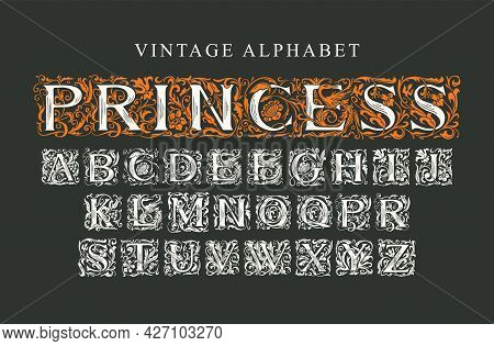 The Word Princess. Luxury Design Of Beautiful Hand-drawn Font For Card, Invitation, Monogram, Label,