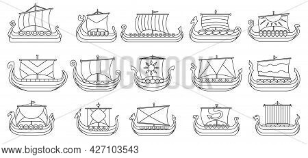 Ship Of Viking Vector Outline Set Icon. Vector Illustration Ancient Boat On White Background. Isolat