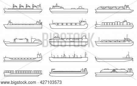 Barge Vector Outline Set Icon. Vector Illustration Cargo Ship On White Background. Outline Set Icon