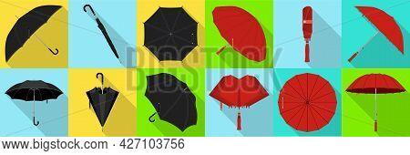 Umbrella Isolated Flat Set Icon. Vector Flat Set Icon Rainy Cover . Vector Illustration Umbrella On