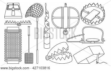 Trap For Animal Vector Illustration On White Background . Metal Pitfall Isolated Outline Set Icon. V