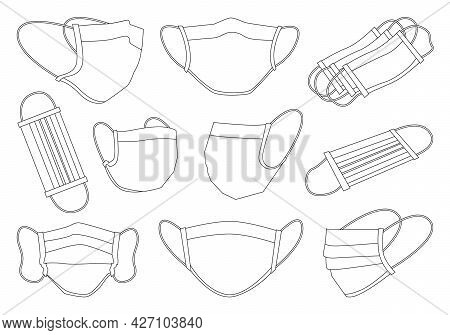 Medical Mask Isolated Outline Set Icon. Vector Outline Set Icon Surgical Protective Layer. Vector Il