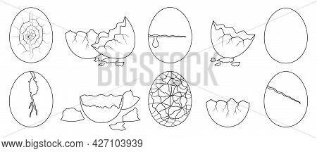 Egg Crack Vector Outline Set Icon. Eggshell Isolated Outline Set Icon. Vector Illustration Egg Crack