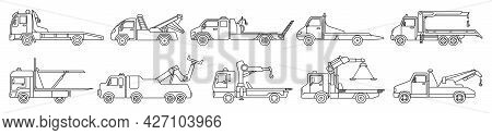 Truck Tow Isolated Outline Set Icon. Vector Illustration Evacuator On White Background. Vector Outli