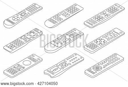 Remote Vector Outline Set Icon. Isolated Outline Set Icon Control Tv. Vector Illustration Remote On