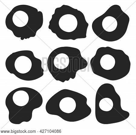 Fried Egg Isolated Black Set Icon. Vector Black Set Icon Protein Of Yellow. Vector Illustration Frie