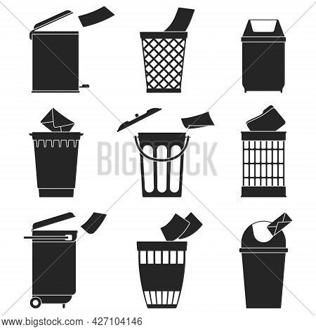 Can Trash Vector Black Set Icon. Vector Illustration Garbage Basket On White Background. Isolated Bl
