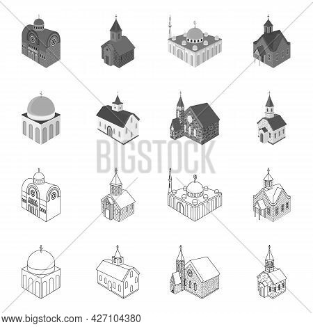 Vector Design Of Temple And Historic Icon. Set Of Temple And Faith Vector Icon For Stock.
