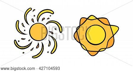 Handdrawn Yellow Suns Set. Colorful Shining Suns With Swirling Beams In Doodle Style. Black And Whit