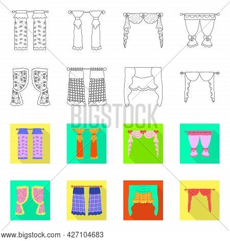 Vector Design Of Curtains And Drapes Icon. Set Of Curtains And Blinds Stock Symbol For Web.