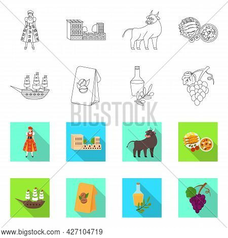 Vector Illustration Of And Historic Sign. Set Of And Country Vector Icon For Stock.