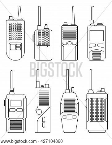 Walkie Talkie Vector Outline Icon. Isolated Outline Set Icon Transceiver.vector Illustration Walkie