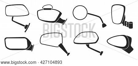 Side Mirror Vector Black Set Icon. Vector Illustration Auto Glass On White Background. Black Set Ico