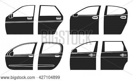 Car Door Vector Black Set Icon. Black Set Icon Auto Equipment. Vector Illustration Car Door On White