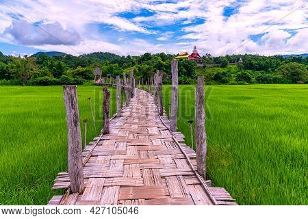 Bamboo Bridge Is Name Su Tong Pe Bridge Across Field In Mae Hong Son Province, Thailand. The Favouri