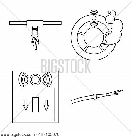 Isolated Object Of Firefighters And Fire Logo. Collection Of Firefighters And Service Vector Icon Fo