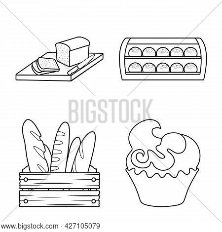 Isolated Object Of Bakery And Natural Logo. Set Of Bakery And Business Stock Symbol For Web.