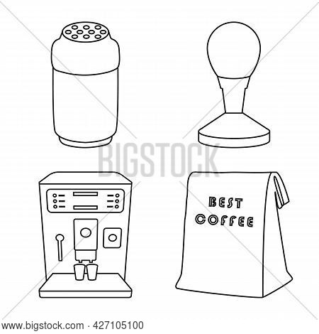 Vector Design Of Cafe And House Sign. Set Of Cafe And Restaurant Vector Icon For Stock.