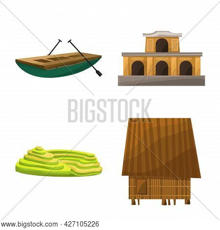 Isolated Object Of Travel And Country Symbol. Set Of Travel And Culture Stock Symbol For Web.