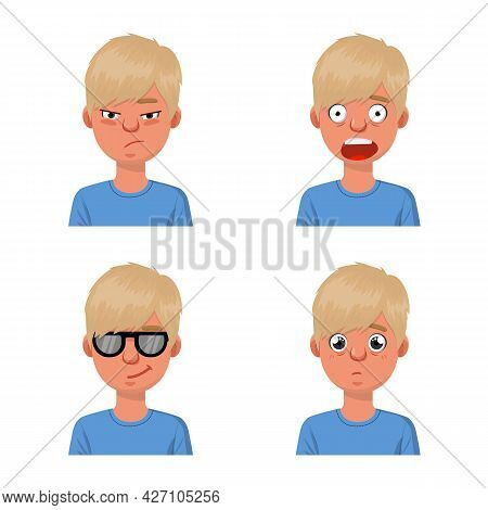 Vector Design Of Face And Boy Sign. Set Of Face And Young Stock Vector Illustration.