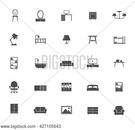 Furniture Silhouette Vector Icons Isolated On White. Furniture Icon Set For Web, Mobile Apps, Ui Des