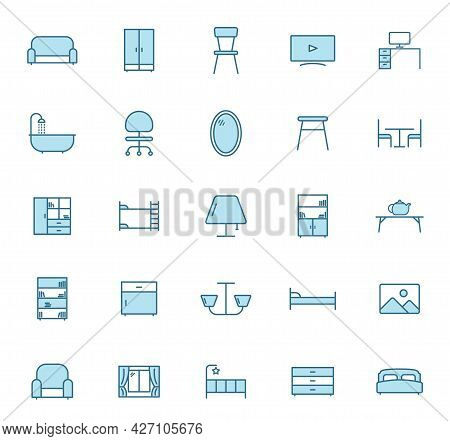 Furniture Line Vector Icons In Two Colors Isolated On White Background. Furniture Blue Icon Set For